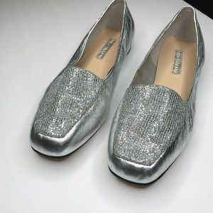 Enzo Angiolini Silver Sparkly Liberty Loafer Flats